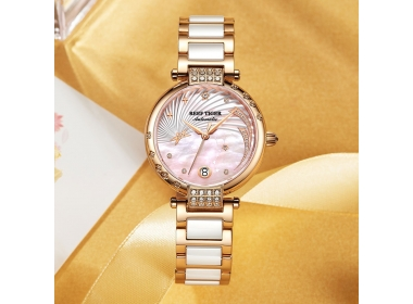 Presenting The Reef Tiger Love Galaxy With Rose Gold Pink Dial Diamonds Dots Markers Watch RGA1592